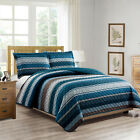 Woven Trends Printed Collection 3PC Striped Blues Quilt Set Bedspread Coverlet image