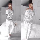 2Pcs Set Womens Tracksuit Sport Wear Sweat Suit Hoodie Sweatshirt Pants Casual