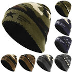 Men's Womens Camo Army Knitted Wool Cap Casual Fleece Winter Outdoor Beanie Hat