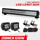 "20INCH 126W +4"" 18W SPOT FLOOD COMBO LED WORK LIGHT BAR FOR SUV TRUCK 22/24"