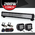 "22"" 280W LED Work Light Bar Spot Flood Driving Fit Offroad Truck SUV UTV 20/24"""