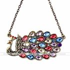 Fashion Woman Charm Alloy Necklace, Colorful Peacock Shows its Tails