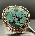 Native American Sterling Silver + Kingman Turquoise Ring, Signed