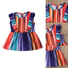 New Toddler Kids Girls Rainbow Colorful Princess Party Pageant Wedding Dresses