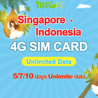 Mewfi Singapore Indonesia Travel Sim Card 5/7/10 Days Unlimited Data No Call
