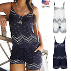 Women Holiday Strap Mini Playsuit Summer Shorts Jumpsuit Beach Dress Classic