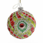 Shiny Brite HS DEC. ROUNDS W/REFLECTORS. Glass Red Lime Silver 4027569S Lime