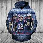 New England Patriot 3D Hoodie Hooded Sweatshirt Pullover Football NFL Champion