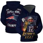 New England Patriot 3D Hoodie Sweatshirt Pullover Football Champion NFL Gift