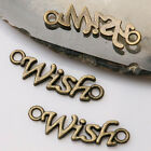 """40pcs antiqued bronze color word """" wish """"   charms for jewerly making  EF3428"""