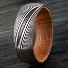8mm Men's Black Damascus Steel with Whiskey Barrel Wood Sleeve Wedding Band Ring