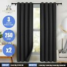 2X Blockout Blackout Curtains 3 Layers Pure Fabric 250GSM Room Darkening Black