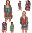 Sexy Women Bohemian Dresses Neck Tie Vintage Printed Ethnic Style Summer Dresses