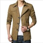 Hot Mens Slim Fit Spring Single Breasted Lapel Thin Leisure Cotton Coat Fashion