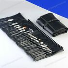 24pcs Pro Black Cosmetic Makeup Eyeshadow Brush Tool Kit Set with Leather Bag-am