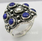 925 Solid  Silver LAPIS LAZULI & AAA PEARL Ring Any Size Groundhog Day Sales