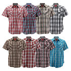 Rodeo Clothing Mens Western Pearl Snap Button Up Short Sleeve Plaid Dress Shirt