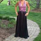 NWT Ema Savahl Evening Gown Pink And Black Hand Painted S/M