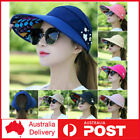 Women Visor Hat Golf Sun Beach Foldable Roll Up Wide Brim Cap Ladies Summer AU