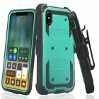 Apple iPhone Xr Built in Screen Protector 3 in 1 Layer Holster Belt Clip Case