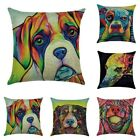 Linen Pillow Case Dog Oil Painting Sofa Car Throw Cushion Cover Bed Supplies New