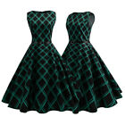 Women Retro Swing Dress 50s Vintage Hepburn Dresses With Belt Cocktail Party