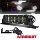 Ultra Thin Dual Row LED Spot Flood Led Work Light Bar Off-road 8 Inch + Wiring