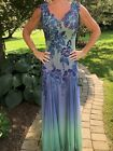 Ema Savahl Evening Gown Purple And Green Hand Painted  Small