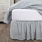 SAWYER MILL BLUE TICKING STRIPE BED SKIRT Farmhouse Bedding Cotton VHC Brands image