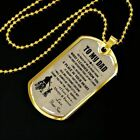 NEW Son Dad Biker Dog tag Military Chain Cool Gift For Dad On Birthday, Xmas