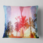 East Urban Home Landscape Retro Palm Trees Long View Pillow