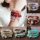 4Pcs Boho Multilayer Natural Stone Crystal Beaded Bracelets Fashion Women Set image