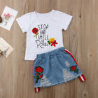 Toddler Baby Girls Summer Tops T-shirt Denim Roses Dress 2Pcs Outfits Clothes