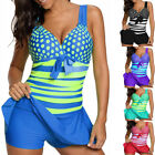 2019 Women Ladies Fashion Wide Strap Polka Dot Swimdress and Short