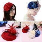 Women Feather Mesh Floral Fascinator Hat Headband Hair Clip Wedding Party Hat US