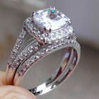 Bridal Round Cz 925 Sterling Silver Wedding Engagement Ring Set For Women 5-10