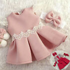 Summer Toddler Baby Girl Lace Fly Sleeve Bow Dress Outfit Princess Wedding Dress