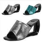 Women 8cm High Heel Slippers Wedge Sandals Street Leather Backless Casual 34 43
