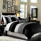 8-Piece Luxury Pintuck Pleated Stripe Black, Gray, and White Comforter Set image