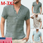 US Mens Linens Short Sleeve Shirt Summer Cool Loose Casual Shirts V Neck Tops