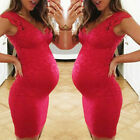 Women Maternity Pregnant Summer Party Solid V Neck Lace Vest Sleeveless Dress ED