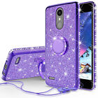 For LG K20 Plus/K10 (2017) Cute Ring Stand Glitter Bling Phone Case w/Kickstand