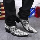 Gents Western Style Snake Skin Cowboys Ankle Boots Mens Cuban Heels Shoes Size