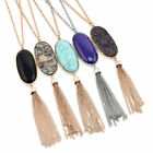 Luxury Women 2'' Oval Abalone Shell Stone Long Chain Tassel Pendent Necklace