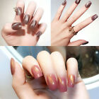 24Pcs Cat Eye Short Oval Fake Nails Tips Kit Chrome Bright Uv Gel Nail Art Salon