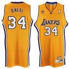 Shaquille O'Neal #34 Los Angeles Lakers Classic Gold Purple Swingman Jersey NEW