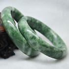Beautiful Natural Green Jade Bracelet Chinese Hand Made Jade Bangle 58-62mm New