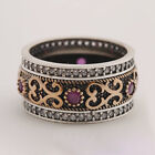 Vintage 925 Silver Turkish Round Cut Sapphire Topaz Band Rings Jewelry Women Men image