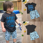 UK Toddler Kid Baby Shark Boy Outfit Summer Tops T-Shirt Short Pants Clothes Set