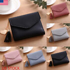Leather Wallets Trifold Womens Solid Cute Wallet Case Simple Small Handbag Purse image